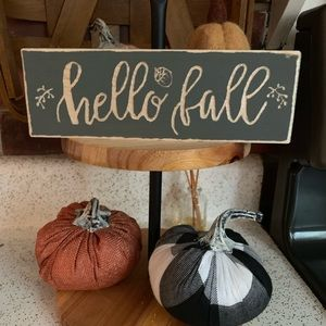 Hand carved hello fall sign